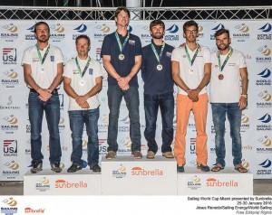 Onán Barreiros y Juan Curbelo, medalla de bronce en Miami, Copa del Mundo de Vela 2016.